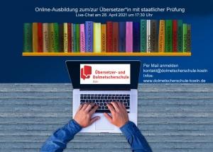 Im Live-Chat informieren über die Online-Ausbildung staatlich geprüfter Übersetzer *in